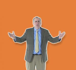 man arms up orange background