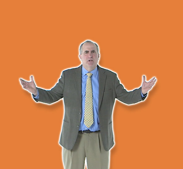 man arms up orange background