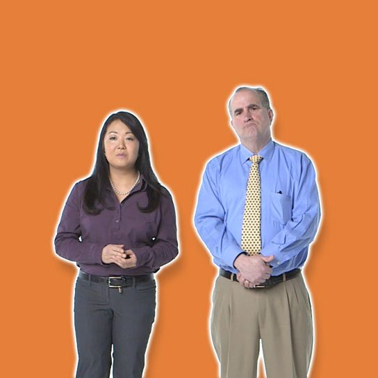 womam and man orange background